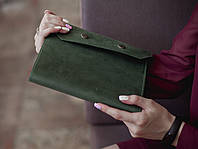 Обложка для ежедневника из натуральной кожи, обложка на блокнот кожаная_зеленая