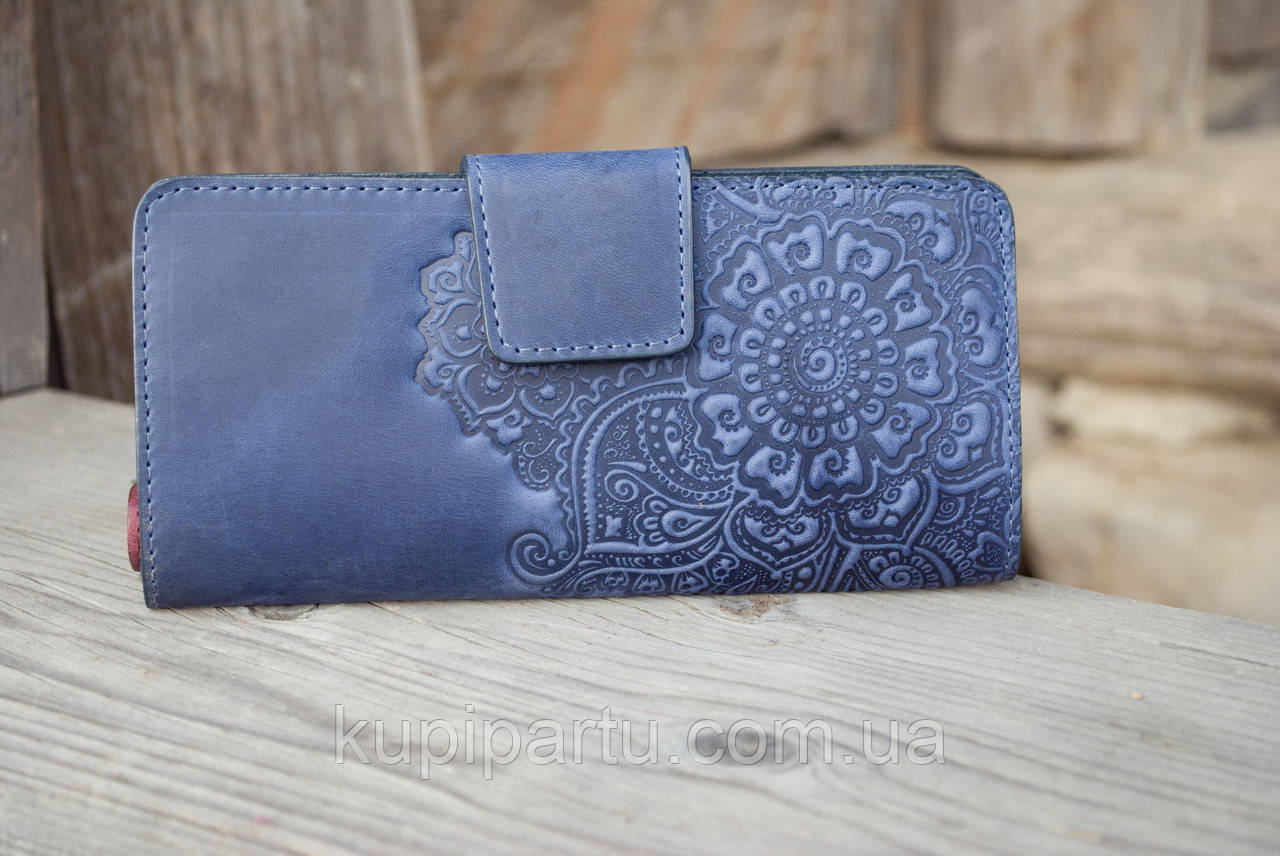 Кошелёк Цветок синий 9.5*19см Гранд Презент 06-11С