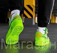 Мужские кроссовки OFF-WHITE x Nike Air Force 1 Low Volt A04606-700 Найк Аир Форс ОФФ Вайт низкие салатовые, фото 2