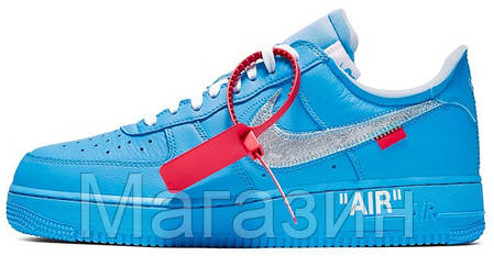Мужские кроссовки OFF-WHITE x Nike Air Force 1 Low Virgil Abloh Найк Аир Форс ОФФ Вайт низкие кожаные синие, фото 2