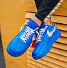 Мужские кроссовки OFF-WHITE x Nike Air Force 1 Low Virgil Abloh Найк Аир Форс ОФФ Вайт низкие кожаные синие, фото 4