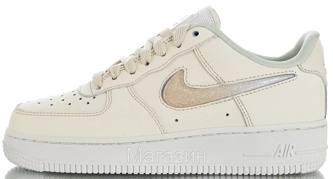 Женские кроссовки Nike Air Force Low Jelly Puff White Найк Аир Форс низкие кожаные белые