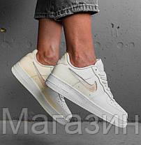 Женские кроссовки Nike Air Force Low Jelly Puff White Найк Аир Форс низкие кожаные белые, фото 3
