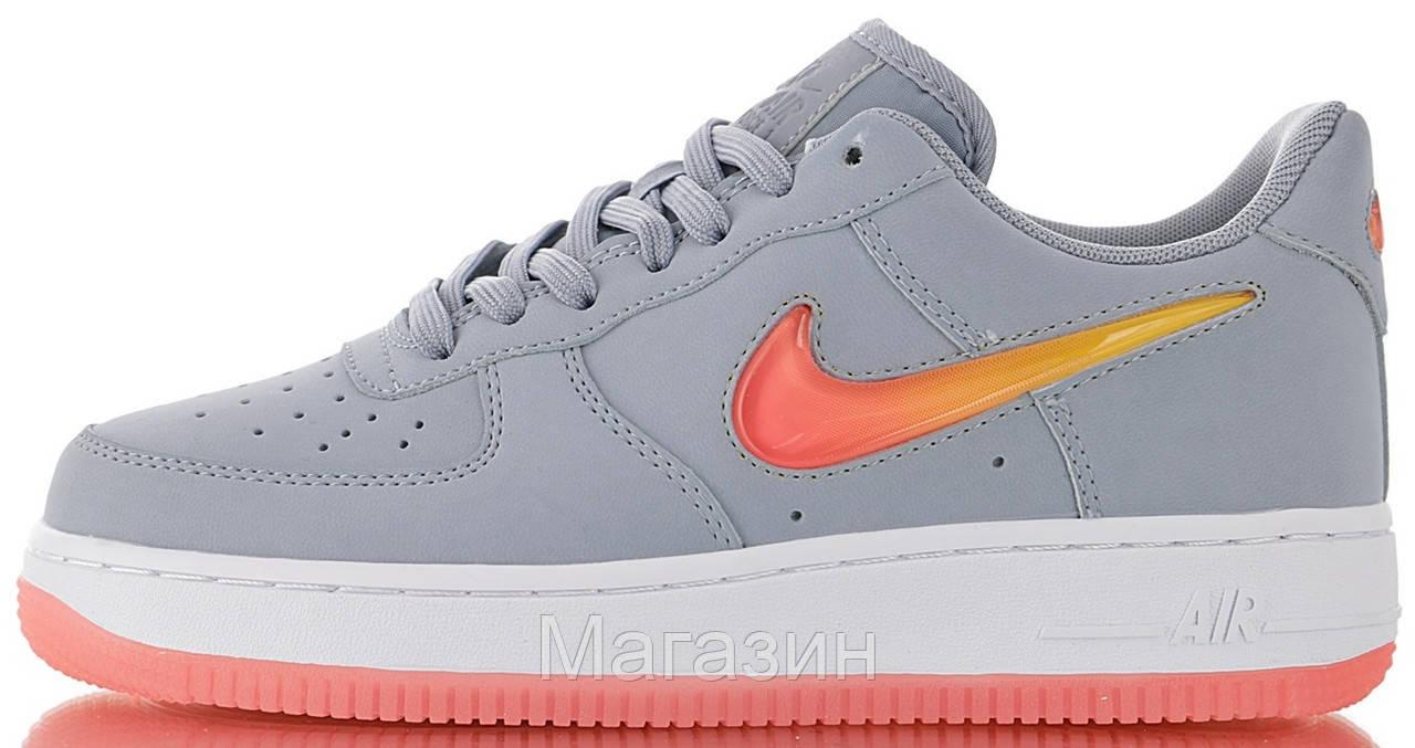 Женские кроссовки Nike Air Force Low Jelly Grey Найк Аир Форс низкие кожаные серые