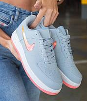 Женские кроссовки Nike Air Force Low Jelly Grey Найк Аир Форс низкие кожаные серые, фото 3