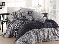 Черно-белое постельное белье NAZENIN Cheta-Gri Турция Ранфорс Евро