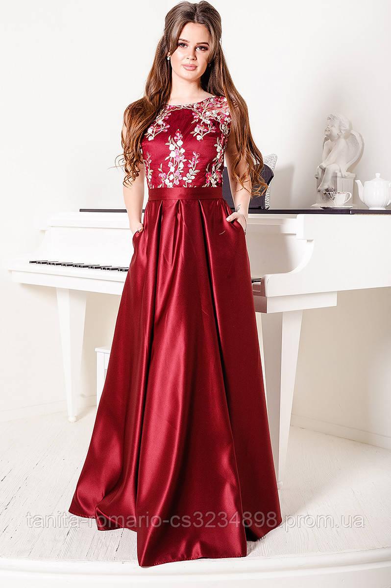 Вечернее платье 8002e Бордо S M L