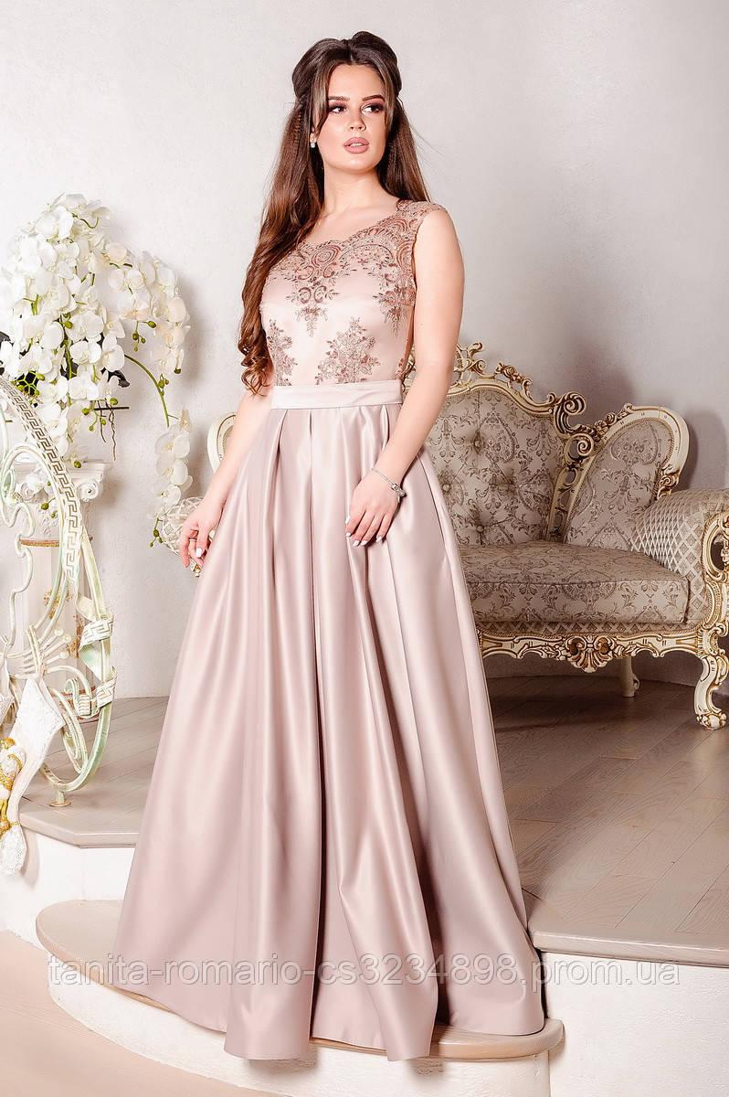 Платье пышное в пол на выпускной вечер кофейного цвета