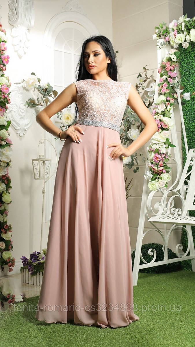 Вечернее платье 7096e Фрезовый S M L