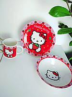 Подарочный набор посуды из керамики для девочек Хелло Китти 3 предмета