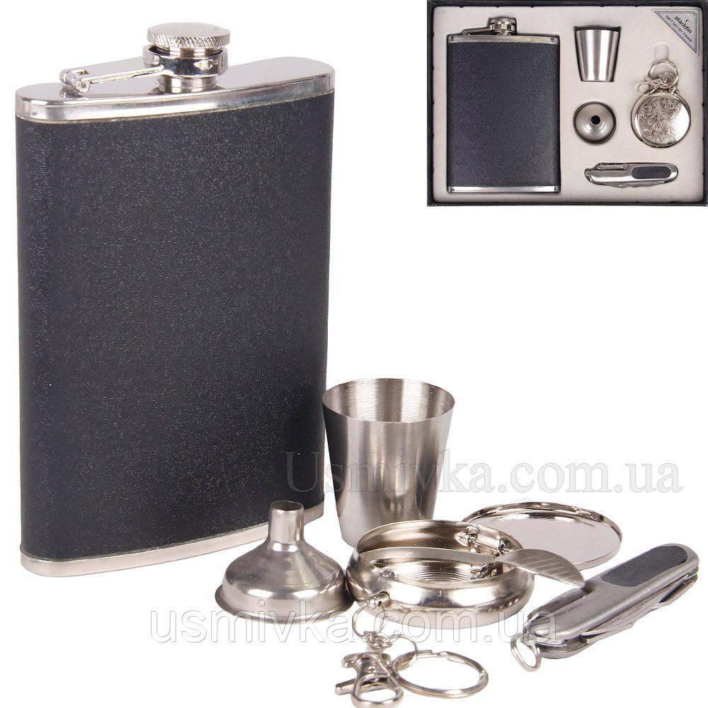 9oz Набор с флягой в коже, карманной пепельницей, складным ножиком, стаканчиком и лейкой. FP907410