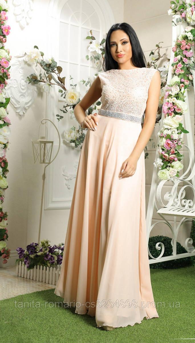 Вечернее платье 7096e Персиковый S M L