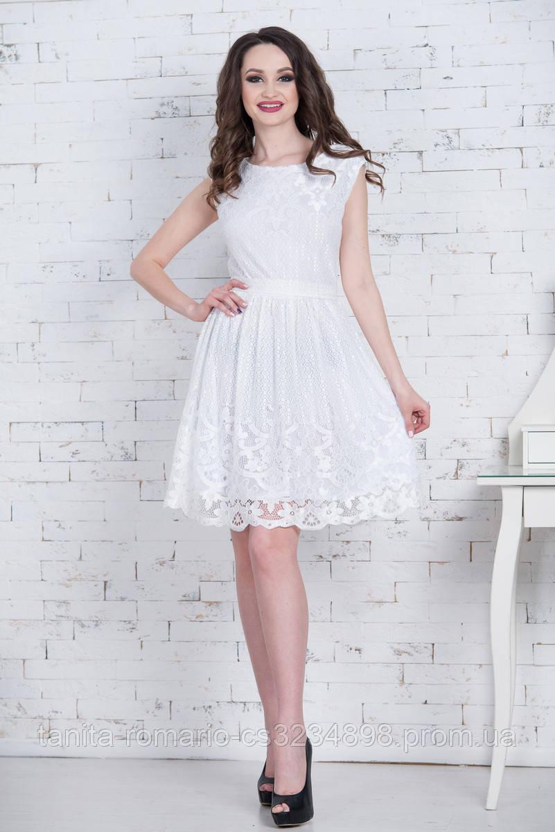 Коктейльное платье 7064e Молочный S M L
