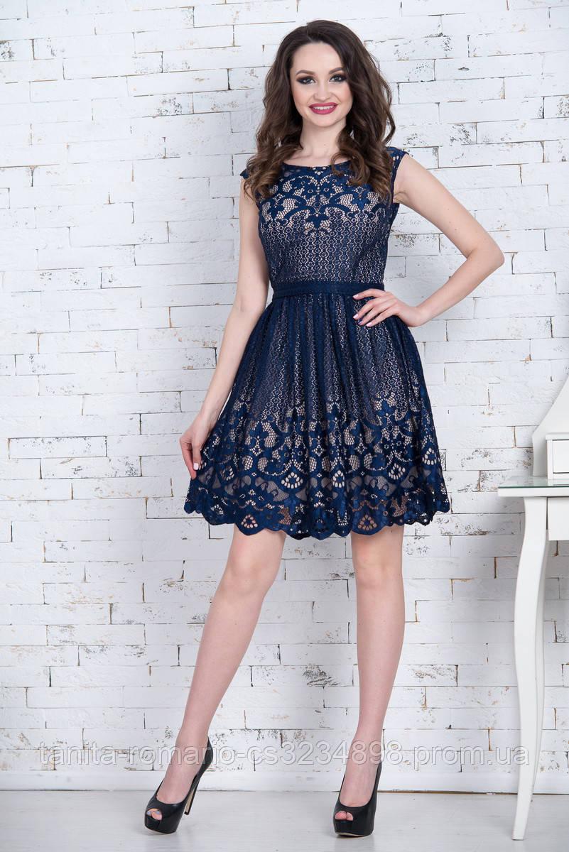 Коктейльное платье 7064e СинийS M L