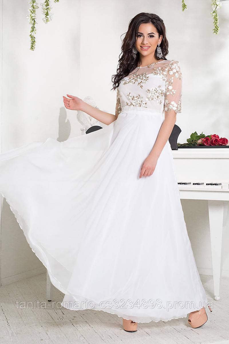 Вечернее платье 8035e Молочный S M L