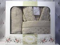 Подарочный набор Sikel махровый мужской халат + 2 полотенца Турция Бежевый