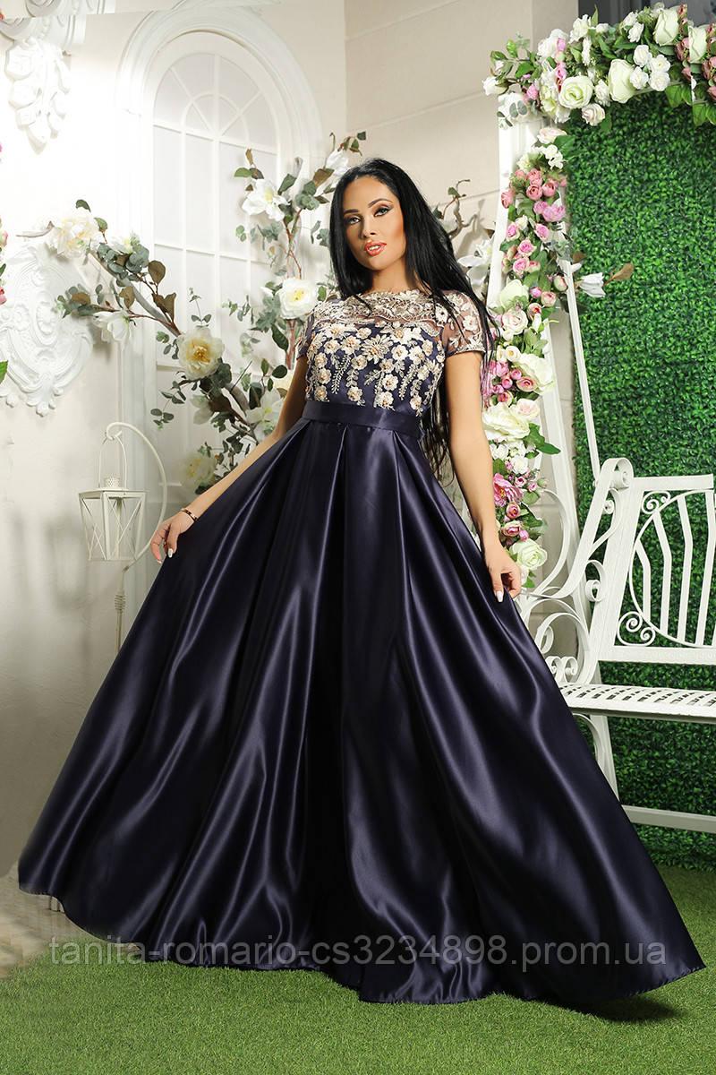 Вечернее платье 8031e Синий S M L
