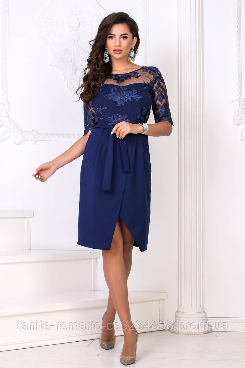 Повседневное платье 8148e Синий S M L