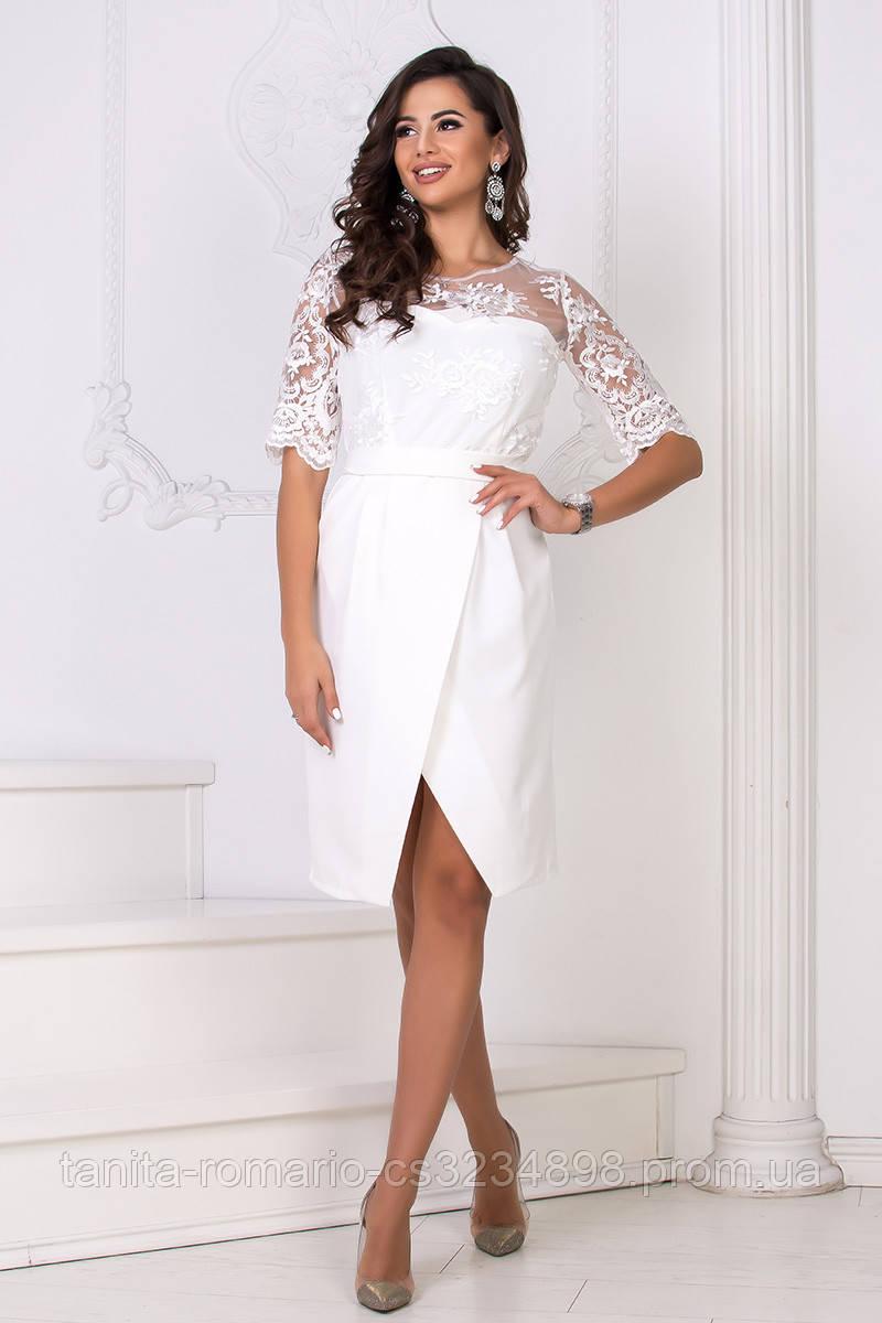 Повседневное платье 8148e Молочный S M L