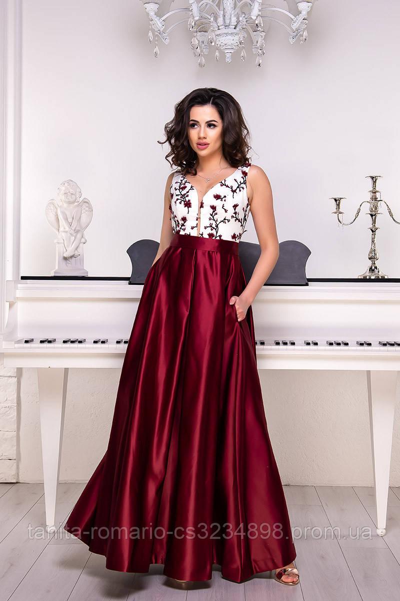 Вечернее платье 9051e Бордо L(р)