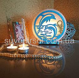 Соляний світильник круглий Дельфіни кольоровий