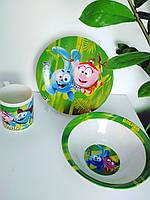 Детский набор посуды из керамики Смешарики 3 предмета