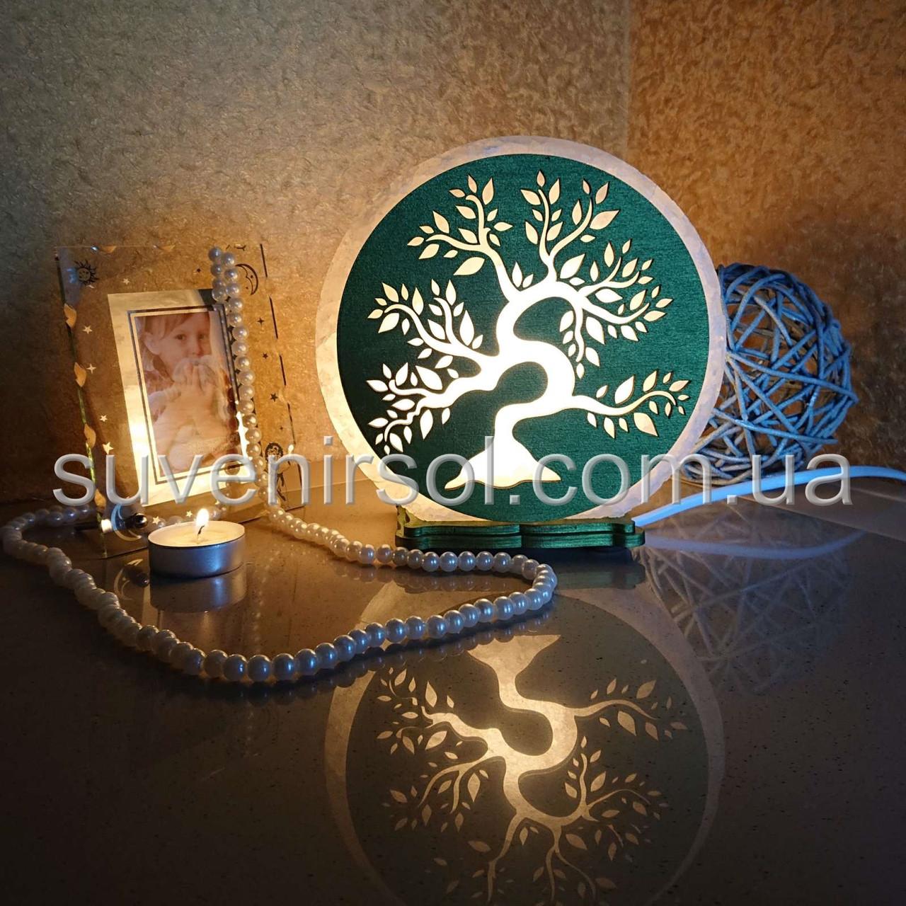 Соляной светильник круглый Дерево цветное