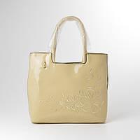Женская сумка бежевая лакированая 13412, фото 1