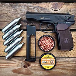 Пистолет пневматический SAS Makarov KM-44 + 5 CO2 + 650 BB 4.5 мм