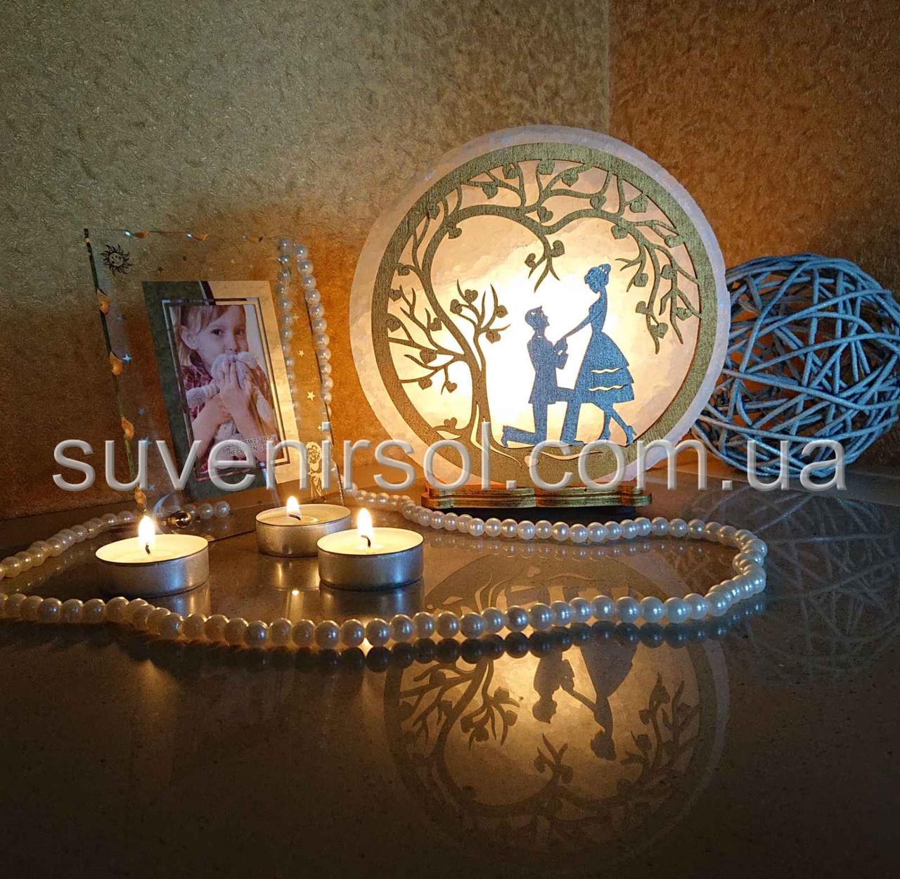 Соляной светильник круглый Любовь цветной