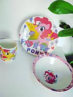 Набор керамической посуды для девочек Пони 3 предмета