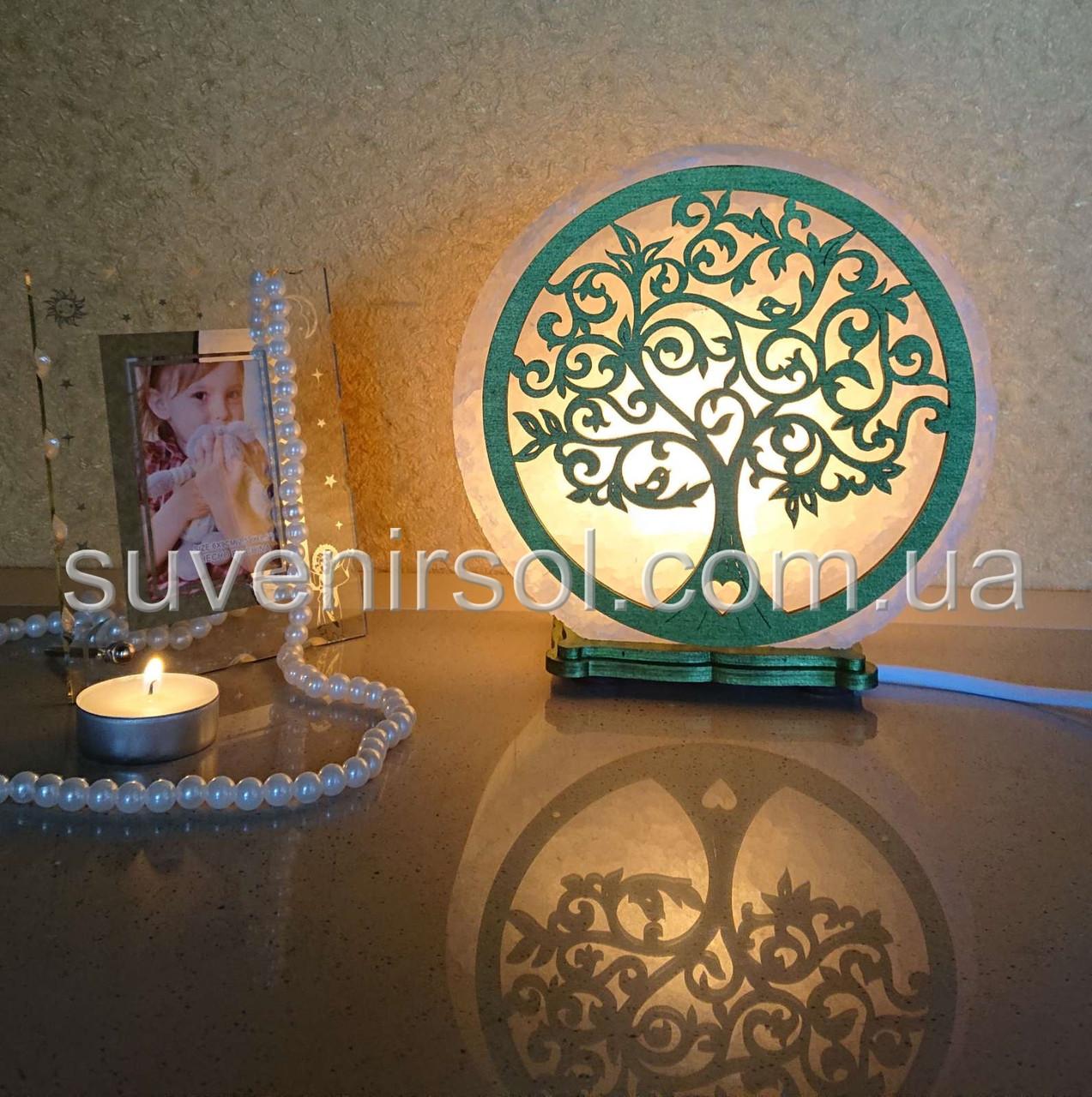 Соляной светильник круглый Дерево 3 цветное