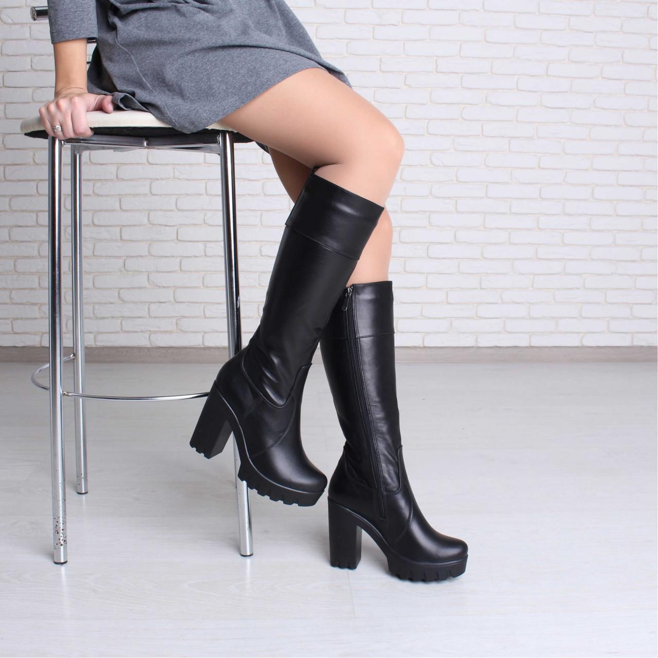 Кожаные сапоги на высоком каблуке с платформой