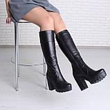 Кожаные сапоги на высоком каблуке с платформой, фото 5