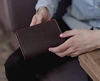 Холдер для документов из натуральной кожи, мужское портмоне для документов водителя_шоколад