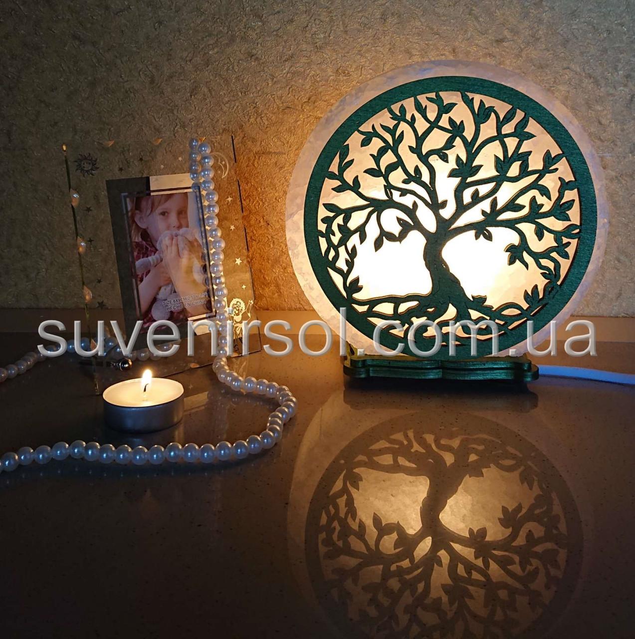 Соляной светильник круглый Дереве 4 цветное