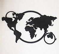 Декор на стену карта мира дерево 100 см чёрный 77