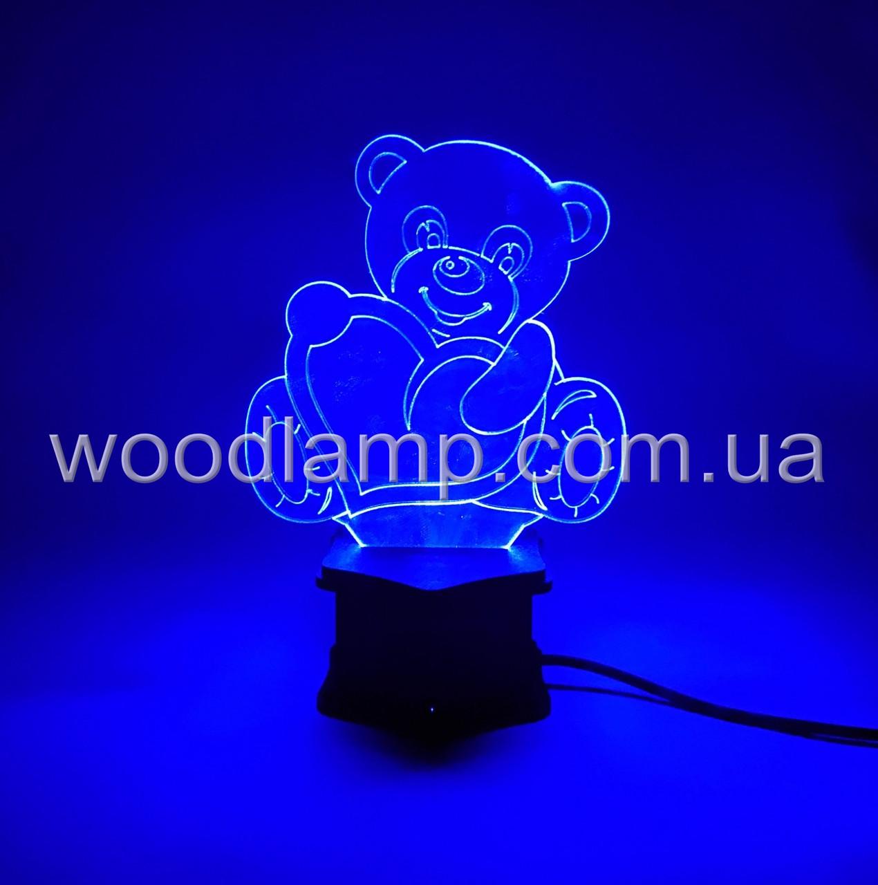 3D ночник Мишка с сердцем №23