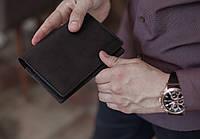 Холдер для документов из натуральной кожи, мужское черное портмоне для документов водителя_черный