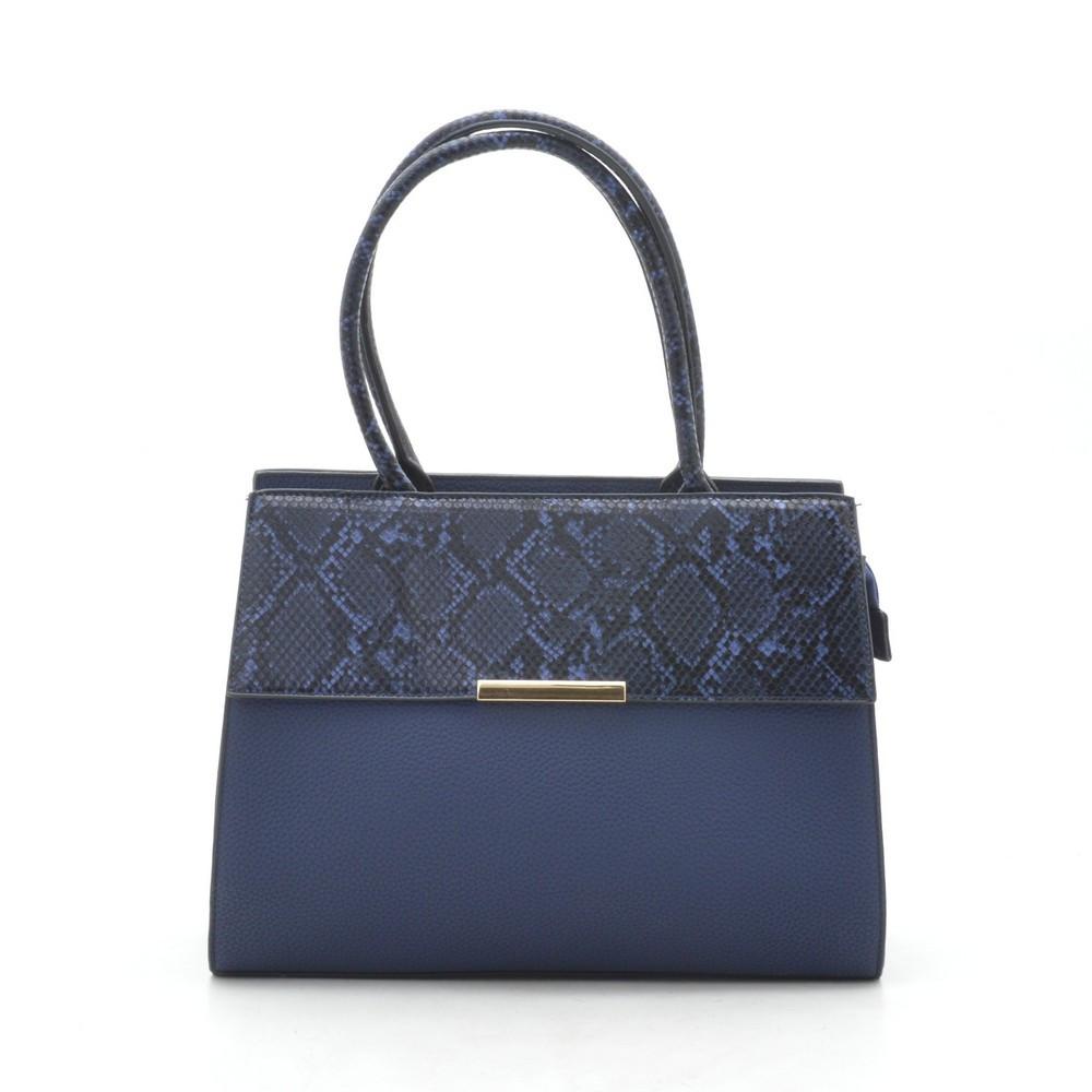 Женская сумка синяя со змеиной вставкой 187299