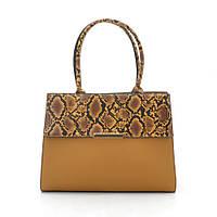 Женская сумка желтая со змеиной вставкой 187303, фото 1