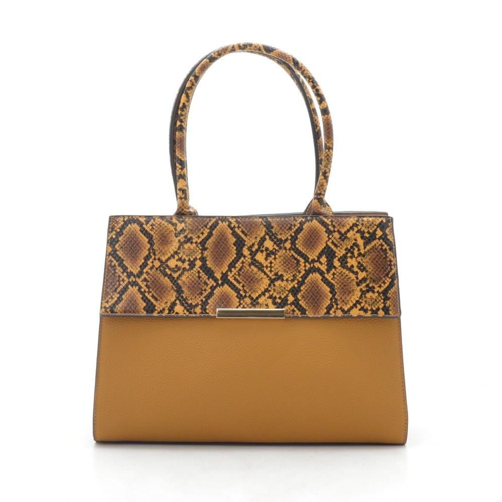 Женская сумка желтая со змеиной вставкой 187303