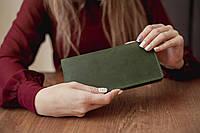 Большой вместительный кожаный кошелек-клатч ручной работы _зеленый