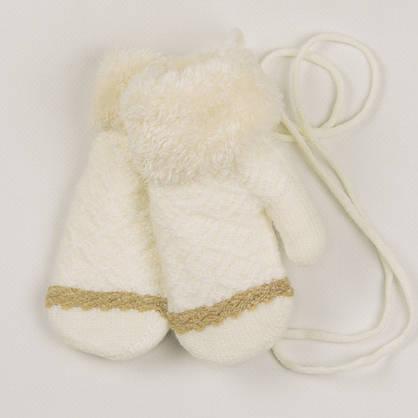 Оптом детские варежки с меховой подкладкой на 2-3 года - 19-7-65, фото 2
