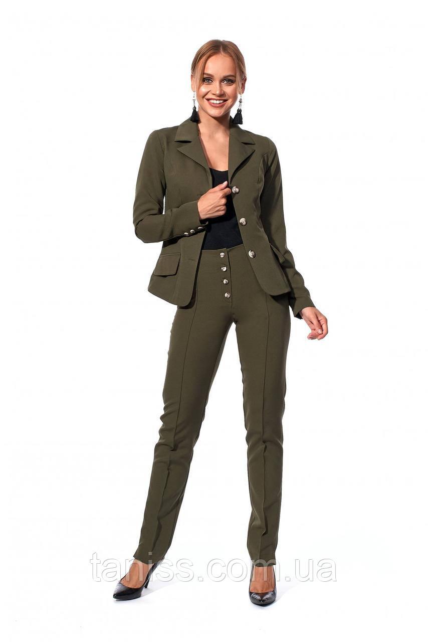Стильный, деловой костюм, ткань креп костюмный, размеры 42,44,46,48 (687.5)хакки