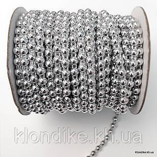 Полубусины на бобине, 6 мм, Цвет: Серебро