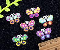 "(20 шт) Пуговицы из дерева 30х20мм ""Бабочки"" Цвета - микс"