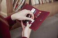 Кошелек для документов, портмоне для автодокументов ручной работы из натуральной кожи марсала