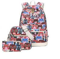 Набор рюкзак молодежный Цветные Совята с сумочкой и косметичкой  3 в 1