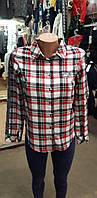 Модная теплая рубашка в клетку с на девочку 122-146р, фото 1